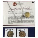 2 Sacajawea Coins and a Sacajawea Necklace