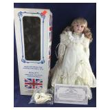 Boxed 18 Inch Ash Blond Doll in Fancy Cream