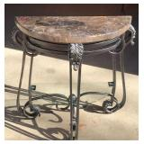 Crescent Marble Top Hall Table