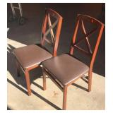 2 Folding Chairs with Faux Leather Seats