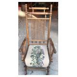 Vintage Oak Rocking Chair with Upholstered Seat