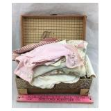 Small Old Trunk with Vintage Doll Clothing