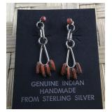 Dainty Sterling and Coral Native American Dangle