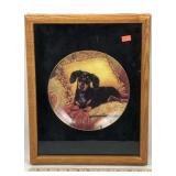 Framed Decorative Porcelain Plate with Weener Dog