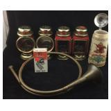 Budweiser Stein, Brass Horn, Candle Lanterns
