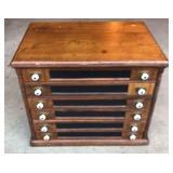Vintage Solid Wood 6 Drawer Spool Cabinet