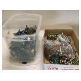 Bin of Tiny Plastic Military Toys Plus Box Of