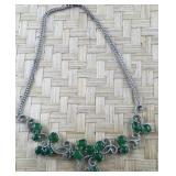 Silver Colored and Multi Green Stone Necklace