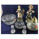 Pair of Country Bisque Figures, Salt and Pepper