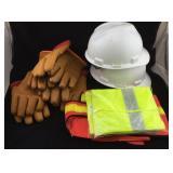 Plastic Helmets, Rubber Gloves, Safety Vests
