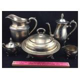 Silverplate Pitcher, Coffeepot, Covered Dish, Etc.