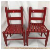 Pair of Red Wood Child Chairs
