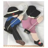 Pair of Wood Boy and Girl Swinging Figures