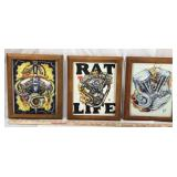 3 Framed Motorcycle Artwork Pieces - Prints