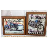 2 Framed Motorcycle Artwork Pieces - Prints