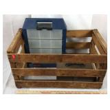 Wood Crate with Rubbermaid Organizer and Change