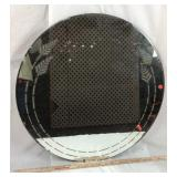 Circle Mirror with Wheat Design Inlay