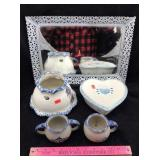 Mirrored Tray and Pottery & Porcelain Dishes