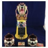 Tasmanian Devil Gumball Machine, 2 Mugs and a