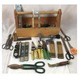 Handled wooden tool box of tools