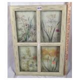 Stenciled floral window pane