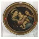 Vintage Jesus and Mary print