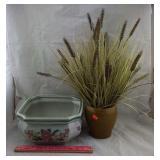 Porcelain Flower Pot & Potted Faux Wheat