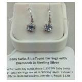 Baby Swiss blue topaz diamond sterling earrings