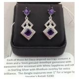 Amethyst and white sapphire sterling earrings