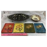 Vintage Daisy Trays, Black/Gold Tray, Hanging Dish