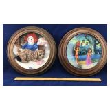 2 Display Plates with Wood Frames