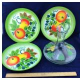 Handpainted Decanter / Vase and 3 Enamel Trays
