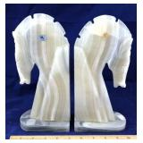Pair of Onyx Horse Head Book Ends