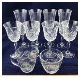 8 Cut Glass Stemware Glasses and Glass Cream &