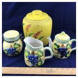 3 Piece Porcelain Cream & Sugar Set and Pottery