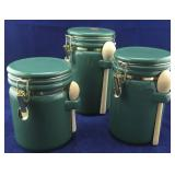 Green 3 Piece Canister Set With Sealed Flip Lids