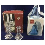 Boxed Lead Crystal Candleholders and Large Boxed