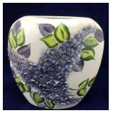 Large Purple and Green Lilac Pottery Vase