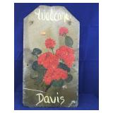 Tall Slate Welcome Sign Hand Painted With