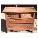 Antique oak two over two drawer dresser