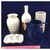 Ceramic Vases, Egg Holder, Enamelware Coffeepot