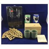 Japanese Jade Cups, Gold Leaf Trivets, Parrot Cups