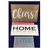 Decorative Signs: Home, Love, Cheers,