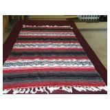 Red & Black Wool Throw Blanket