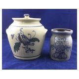 Pottery Cookie Jar With Bird Plus Calvert Co Crock