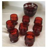 Set of 8 Ruby Water Glasses Plus a Ruby Bowl