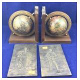 Globe Bookends & Metal Knight Plaques