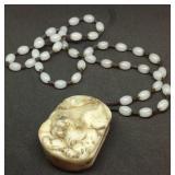 Carved Jade netsuke tiger buckle necklace