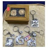 Small Wooden Box With 5 WWF Pewter Animal