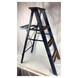 Wood Folding Ladder with Americana Paint Job